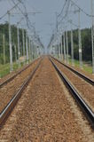 The railway line. Electric traction. Tracks for trains. Stock Photo