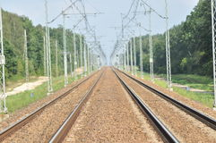 The railway line. Electric traction. Tracks Royalty Free Stock Image
