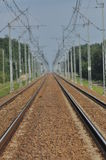 The railway line. Electric traction. Tracks Stock Images