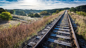 Railway line in the frosty sunrise Royalty Free Stock Photography