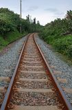 Railway line between green vegetaion. View of railway line, sleepers and gravel in coastal region stock photo