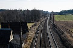 Railway line for high-speed rail trains. Railway line and electr. Ic traction, which is located above the track. Season of the spring Stock Image