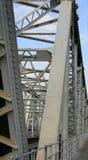Railway line with the iron bridge Royalty Free Stock Images