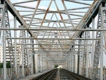 Railway line with the iron bridge Royalty Free Stock Photography