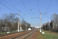 The railway line of the Kiev direction of the Moscow railway Royalty Free Stock Photography