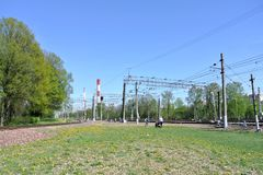 The railway line of the Kiev direction of the Moscow railway Stock Photo