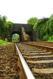 Railway line leading under Viaduct Royalty Free Stock Photos