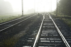 Railway Line in the morning Stock Photos