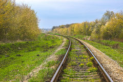 Railway line passing through the forest. Railway line passing through the quiet forest Stock Photography