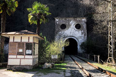 Railway line passing through the tunnel Royalty Free Stock Photo
