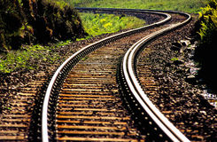 Railway line snaking into distance stock images