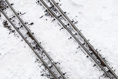 Railway line in the snow Stock Photography