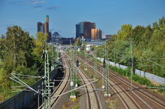 Railway line and tracks, Berlin, Germany Stock Photos