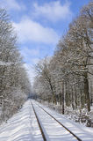 Railway line in winter Royalty Free Stock Image