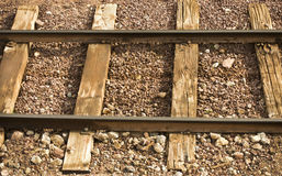 Railway line with wooden sleepers and gravel Royalty Free Stock Photography