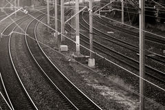 Railway lines in black and white Royalty Free Stock Photography