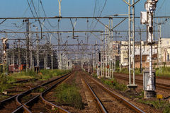Railway lines Cable Structures Royalty Free Stock Photography