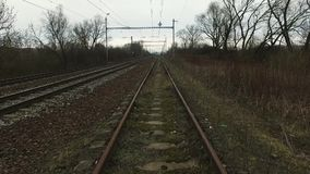 Railway lines during cloudy day stock video