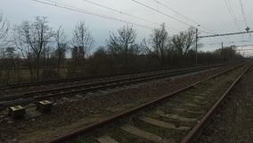 Railway lines during cloudy day stock video footage