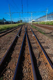 Railway lines Crossover Stock Images
