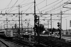 Railway lines and electrical cables Stock Photos