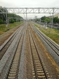 Railway lines going into the distance, Moscow stock photo
