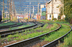 Railway lines leading to container transhipment station.  Stock Photos