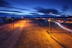 Railway lines at night. Stock Photo