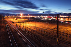 Railway lines at night. Royalty Free Stock Photo