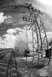 Railway lines with overhead electric power Stock Image