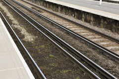 Railway lines by a platform edge Stock Image