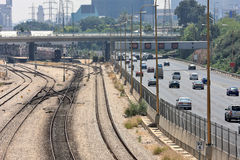 Railways and highway in Tel Aviv, Israel. Royalty Free Stock Photos