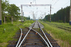 Railway lines with switch Royalty Free Stock Images