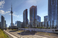 Railway lines in Toronto with the CN Tower Royalty Free Stock Photography