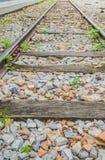Railway lines travel through a railway station Royalty Free Stock Photos