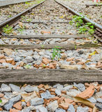 Railway lines travel through a railway station Royalty Free Stock Images