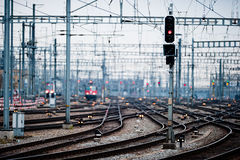 Railway lines at Zuerich main station Royalty Free Stock Photo