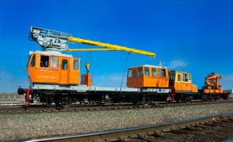 Railway locomotive crane Stock Photography