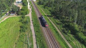 The railway locomotive moves along the railway track.  stock video footage