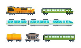 Railway locomotive with various wagons: transportation and cargo carriage coal. Stock Photo
