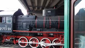 Railway locomotive, wagons in the train. Wagon stock video footage