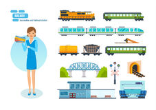 Railway locomotives, passengers wagons, speed trains, railroad station, transport carriage. Stock Images