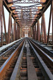 Railway on Long Bien bridge Royalty Free Stock Image