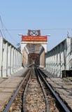 Railway on Long Bien bridge Royalty Free Stock Photos