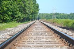 On the railway. Looking down the railway line Royalty Free Stock Photo