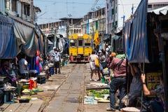 Railway Maeklong markets Stock Photo
