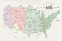 Railway map of United States Royalty Free Stock Image