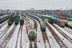 Railway marshalling yard. A large number of trains on the yard Stock Images