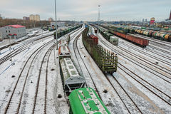 Railway marshalling yard. A large number of trains on the yard Royalty Free Stock Photography