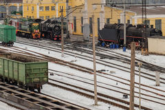 Railway marshalling yard. A large number of trains on the yard royalty free stock photos